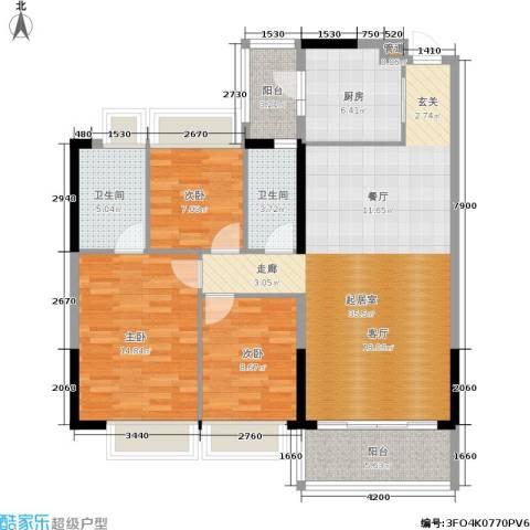 佳大银湾3室0厅2卫1厨114.00㎡户型图