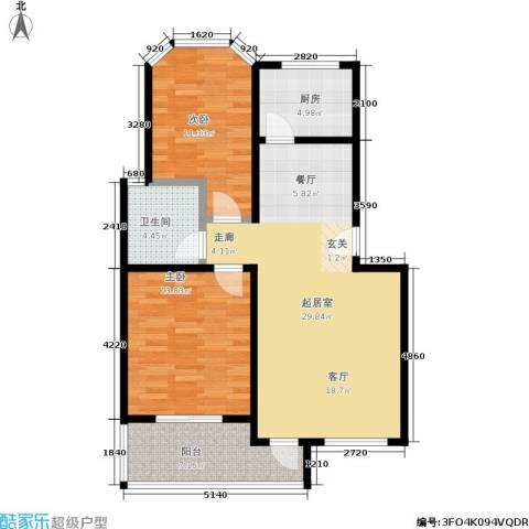 东方花城2室0厅1卫1厨80.00㎡户型图