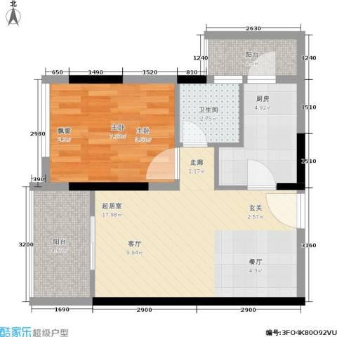 阳光国际商城1室0厅1卫1厨60.00㎡户型图