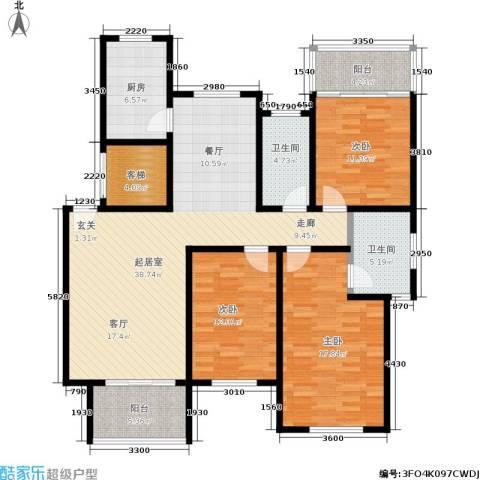 东方花城3室0厅2卫1厨128.00㎡户型图