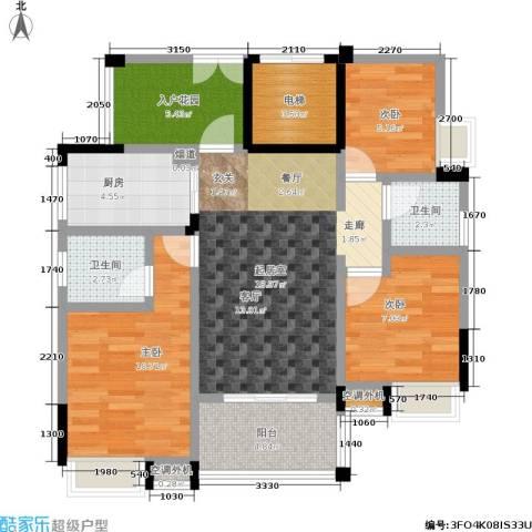 誉林公园一号3室0厅2卫1厨72.00㎡户型图