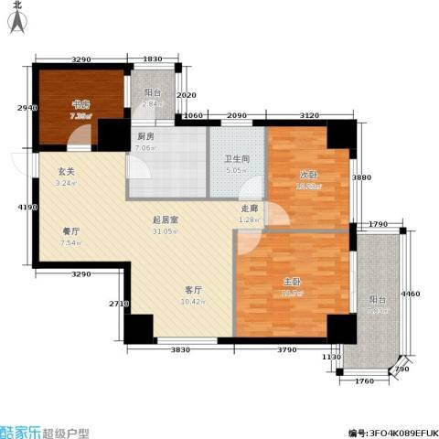 龙湾贰号3室0厅1卫1厨101.00㎡户型图