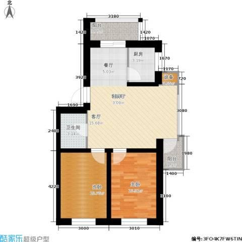 世家沈北新城2室1厅1卫1厨77.00㎡户型图