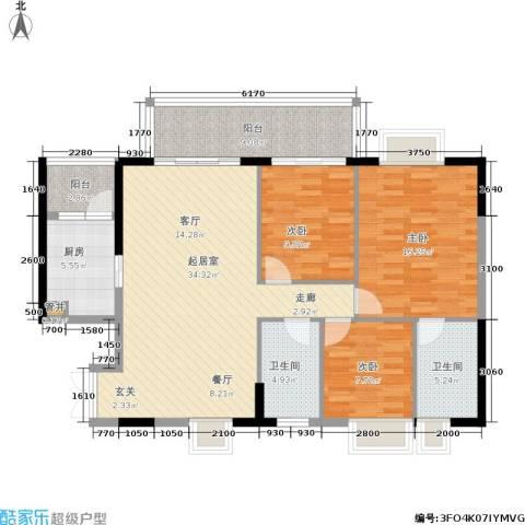 富力盛悦居3室0厅2卫1厨107.00㎡户型图