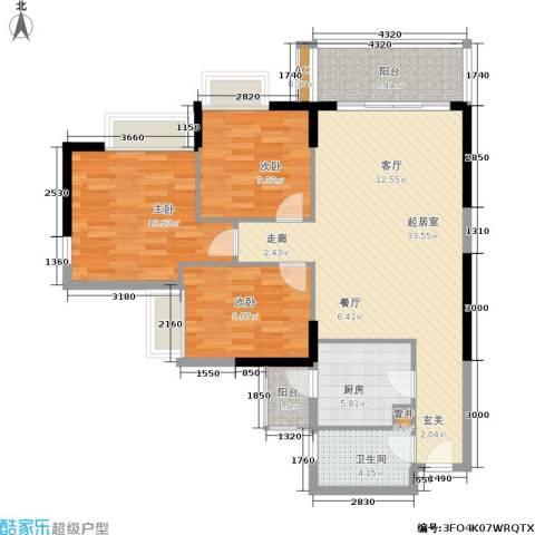 富力盛悦居3室0厅1卫1厨95.00㎡户型图