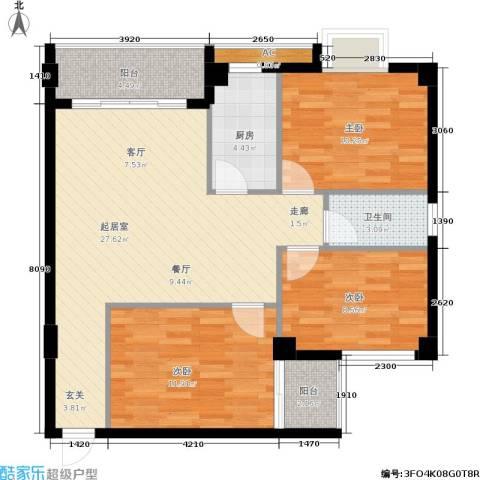 威斯广场3室0厅1卫1厨83.00㎡户型图