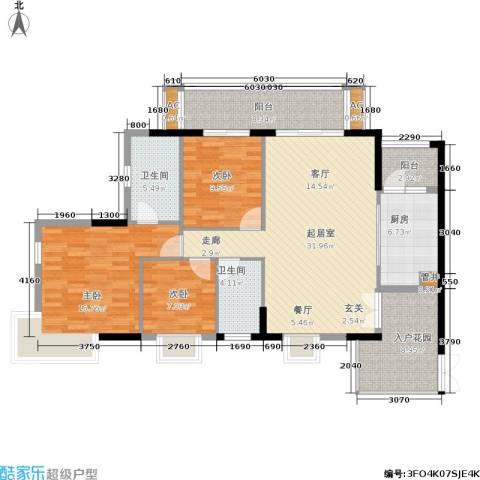 富力盛悦居3室0厅2卫1厨117.00㎡户型图