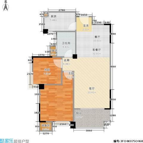 锦合天地2室1厅1卫1厨85.00㎡户型图