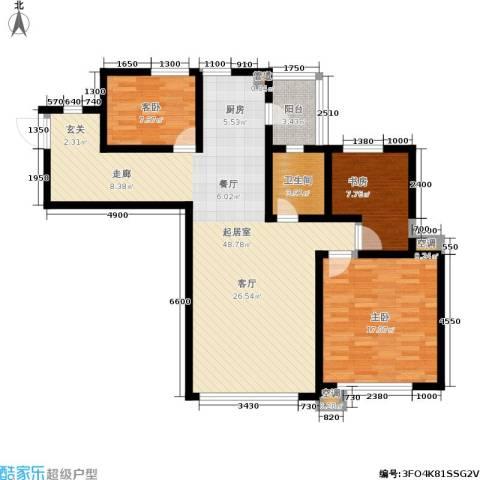 SR国际新城二期3室0厅1卫0厨128.00㎡户型图