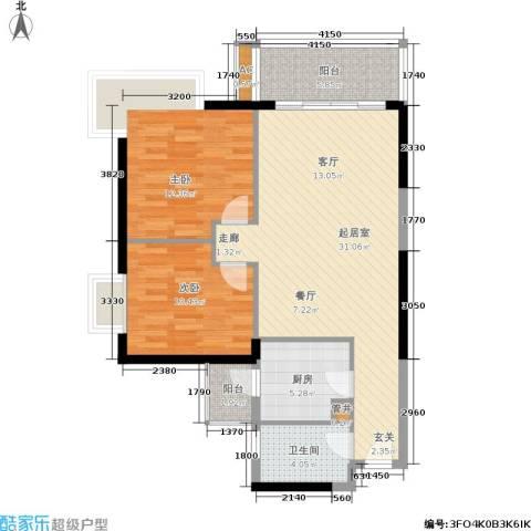 富力盛悦居2室0厅1卫1厨82.00㎡户型图