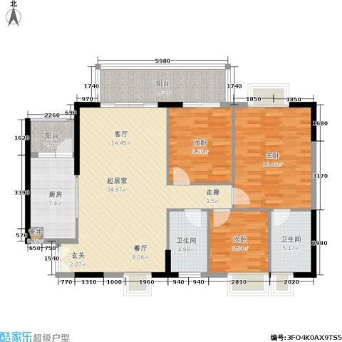 富力盛悦居3室0厅2卫1厨109.00㎡户型图