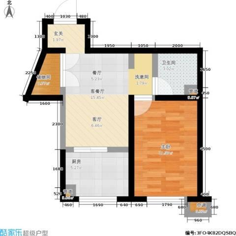 SR国际新城二期1室1厅1卫1厨57.00㎡户型图