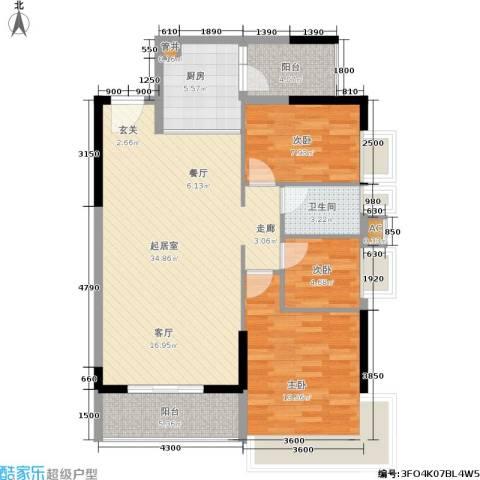 荔江美筑3室0厅1卫1厨104.00㎡户型图