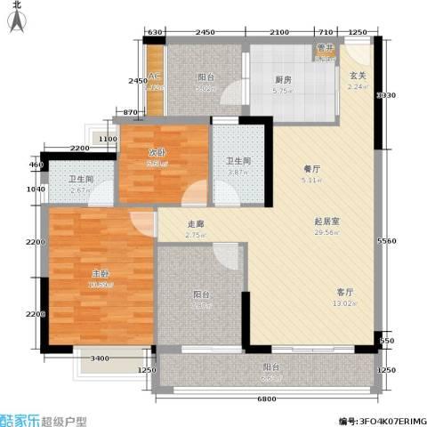荔江美筑2室0厅2卫1厨95.00㎡户型图