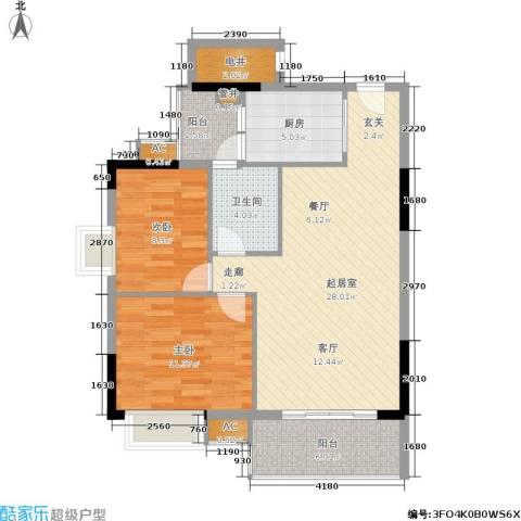 荔江美筑2室0厅1卫1厨79.00㎡户型图