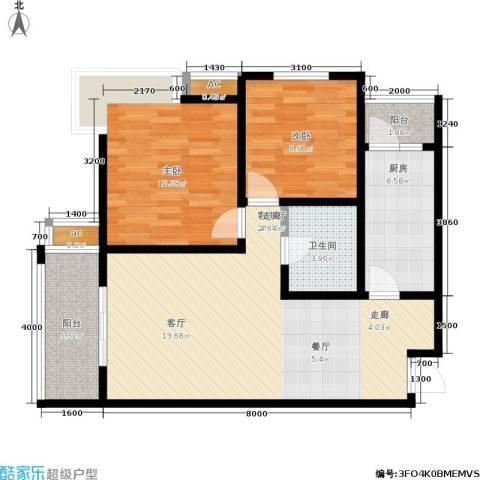 �灞新城2室1厅1卫1厨91.00㎡户型图