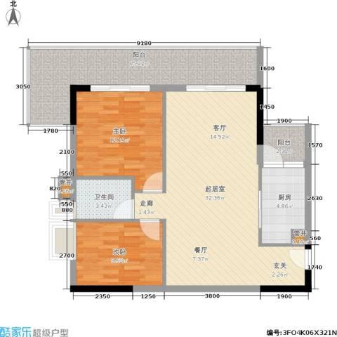 荔江美筑2室0厅1卫1厨87.00㎡户型图