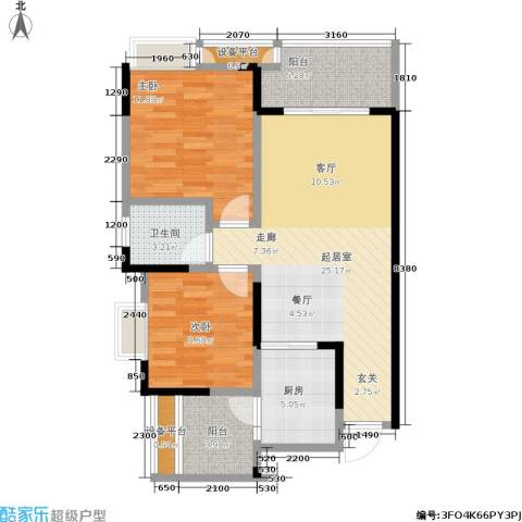 正源缙云山水2室0厅1卫1厨74.95㎡户型图