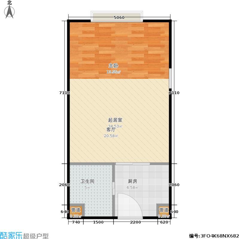 大地锐城一室一厅一卫49.66平方米户型