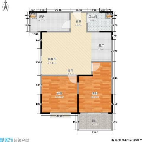 山大新苑2室1厅1卫1厨91.00㎡户型图