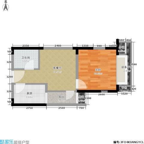 东方米兰1室1厅1卫1厨46.00㎡户型图
