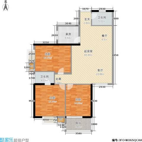 江山如画三期3室0厅2卫1厨165.00㎡户型图