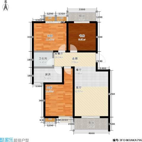 �灞新城3室1厅1卫1厨98.00㎡户型图