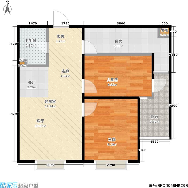 大地锐城104.25㎡B3户型 两室两厅一卫户型2室2厅1卫
