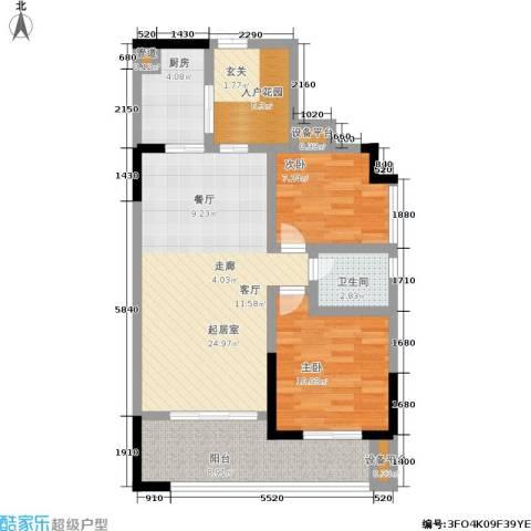 圣湖天域二期2室0厅1卫1厨76.00㎡户型图