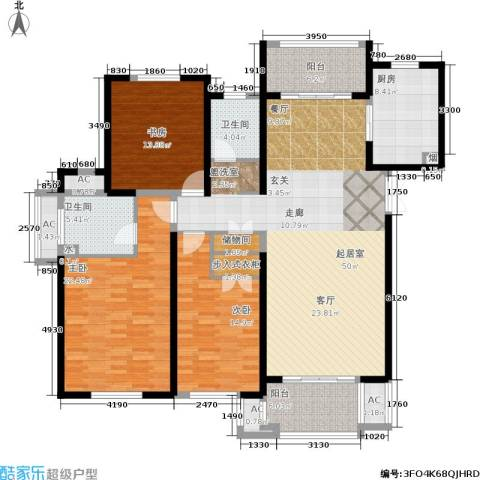 东方米兰国际城3室0厅2卫1厨145.00㎡户型图