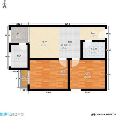晶筑逸品2室0厅1卫1厨75.00㎡户型图