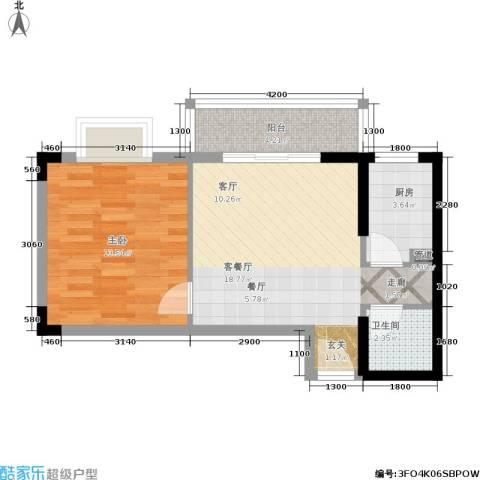 御景名苑1室1厅1卫1厨49.00㎡户型图
