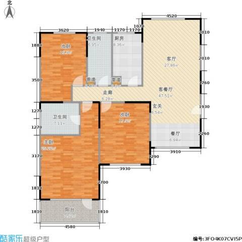 山大新苑3室1厅2卫1厨184.00㎡户型图