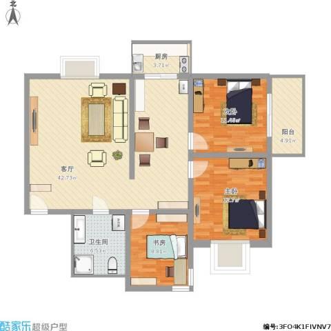 双西公交住宅小区3室1厅1卫1厨128.00㎡户型图