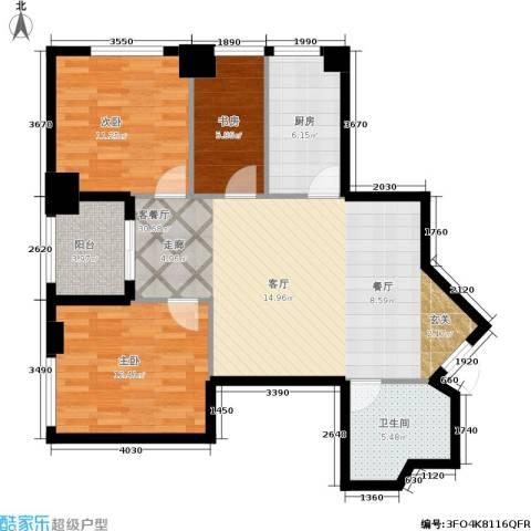 汇金国际公寓3室1厅1卫1厨108.00㎡户型图