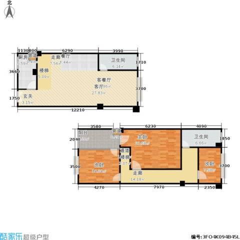 迎江华庭3室1厅2卫1厨147.00㎡户型图