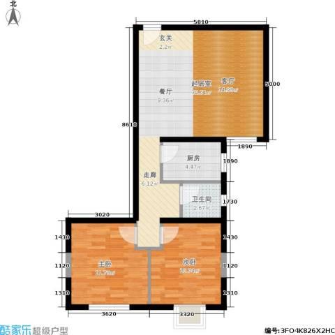 紫铭小区2室0厅1卫1厨75.00㎡户型图
