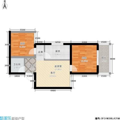 国际幸福城2室0厅1卫1厨69.00㎡户型图