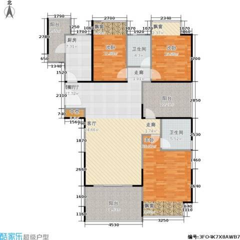 万科金域蓝湾3室1厅2卫1厨147.00㎡户型图