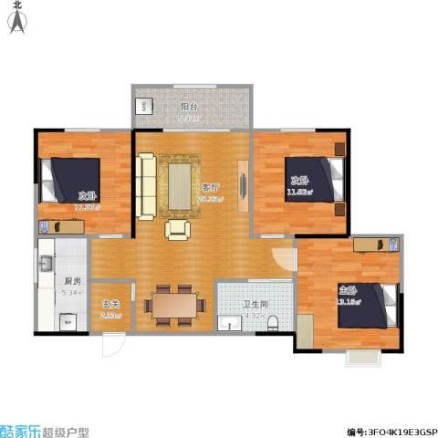 昆明时光3室1厅1卫1厨125.00㎡户型图