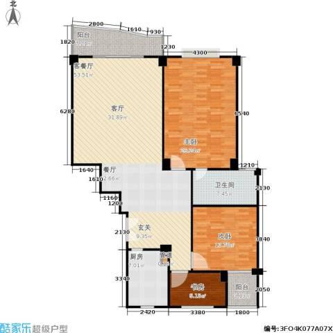 迎江华庭3室1厅1卫1厨135.00㎡户型图