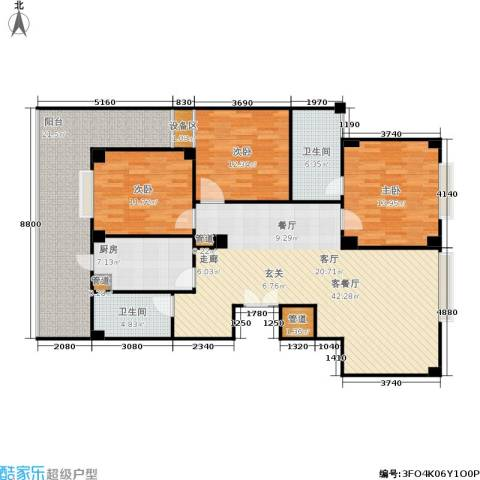 迎江华庭3室1厅2卫1厨135.00㎡户型图