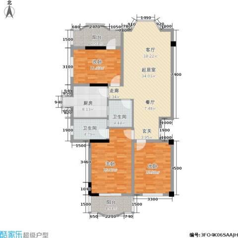 金玉华庭3室0厅2卫1厨136.00㎡户型图