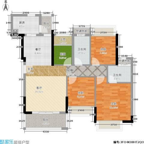风临美丽湾3室1厅2卫1厨128.00㎡户型图