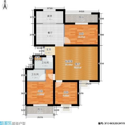 紫铭小区3室0厅2卫1厨104.00㎡户型图