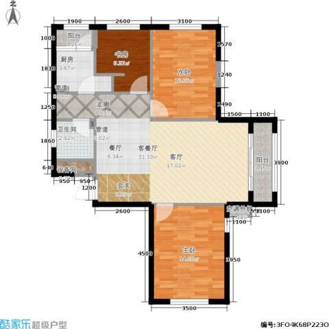 华邦俪城3室1厅1卫1厨86.15㎡户型图