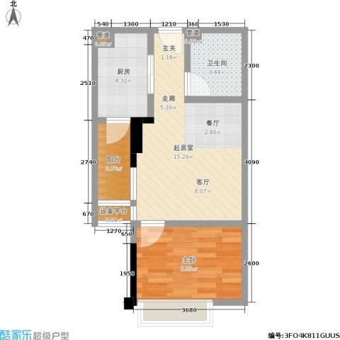 康田国际1室0厅1卫1厨39.00㎡户型图