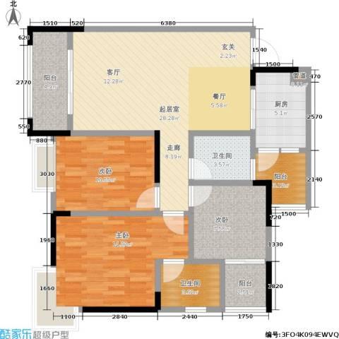 康田国际3室0厅2卫1厨91.00㎡户型图