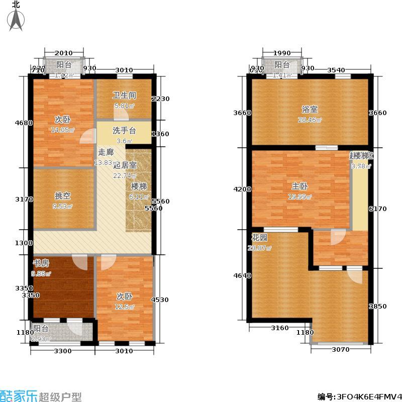 金塘裕墅・湖左岸B户型 二层和三层户型