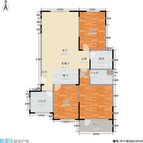 山大新苑3室1厅2卫1厨155.00㎡户型图